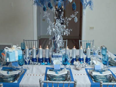 Silver And Blue Christmas Table Decorations Decorating