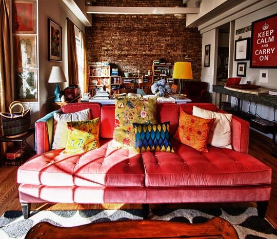 Red Velvet Sofa Warm And Cozy Interior Decor