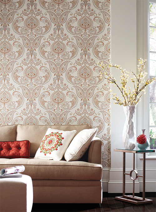 Elegant wallpaper Candice Olson York Wallcoverings Tasara Interior Decor Ideas