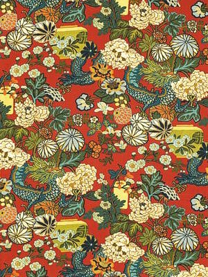 Schumacher Fabric - Chiang Mai Dragon - Lacquer at DecoratorsBest