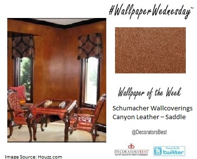 Faux Leather. Wallpaper Wednesday,  Designer Wallcoverings, Schumacher wallcoverings, Design Inspiration, Interior Décor Ideas,