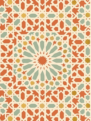 Nasrid Palace Mosaic - Persimmon Schumacher Wallpaper 5005962