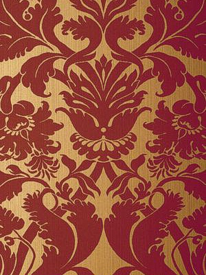 Schumacher Wallpaper - Fiorella Damask - Red on Gold at DecoratorsBest