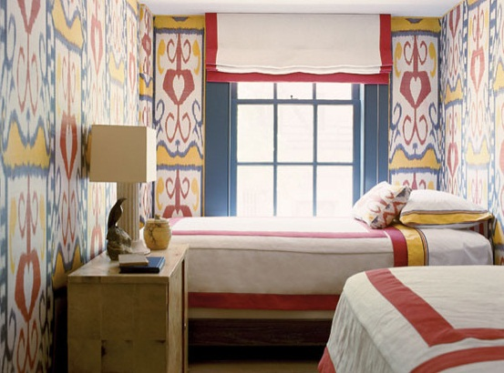 Ikat walls in bedroom Interior Decor