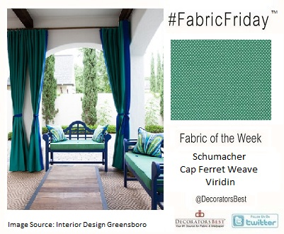 : Shumacher Fabric, designer fabric, Decorators Best, interior design inspiration, teal, indoor, outdoor,
