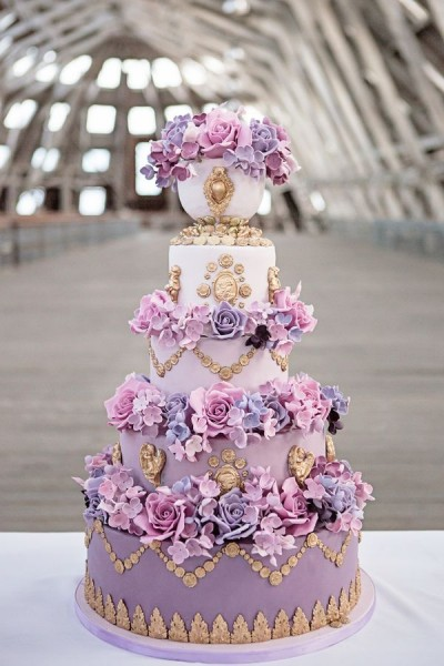 pastel purple tiered cake flowers