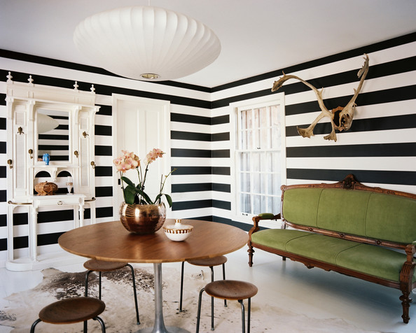Black and White Strip wallpaper living room like us on facebook for a $20 coupon