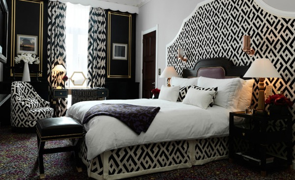 black and white geometric interior decor trends ideas 2013
