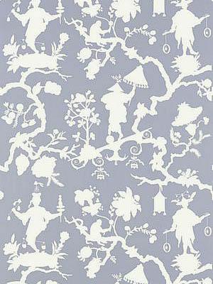 Schumacher Wallpaper Shantung Silhouette Print Wisteria 5005152