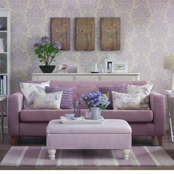 Purple Pastel Living Room Damask Wallpaper Velvet Couch