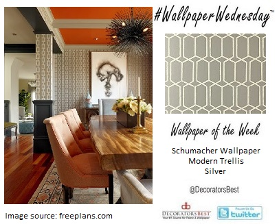 dining room inspiration, interior décor, decorators best, modern, trellis, silver, geometric  lattice, Schumacher