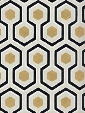 Cole & Son Geometric Metallic Wallpaper Hicks Hexagon-Black And Gold CS 66/8056