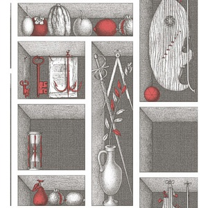 Cole & Son Wallpaper Fornasetti II Nicchie Black White & Red