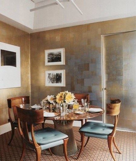 Decorators Best, Wallpaper Wednesday, Brass, Metalic, tile, bold, décor, interior, inspiration, maya Romanoff