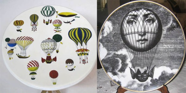 Piero Fornasetti Balloon ocassional Table and Tema e Variazioni Ceramic Plate Whimsical Interior Design Decorators Best