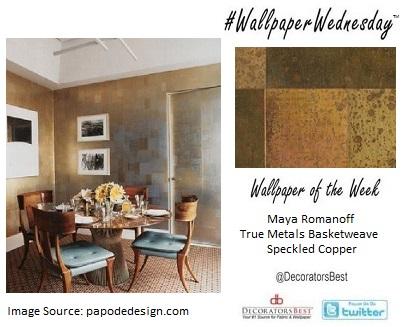 :  Decorators Best, Wallpaper Wednesday, Brass, Metalic, tile, bold, décor, interior, inspiration, maya Romanoff
