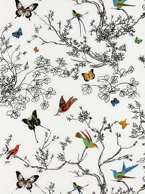 Schumacher Wallpaper Birds and Butterflies - Multi on White 2704420