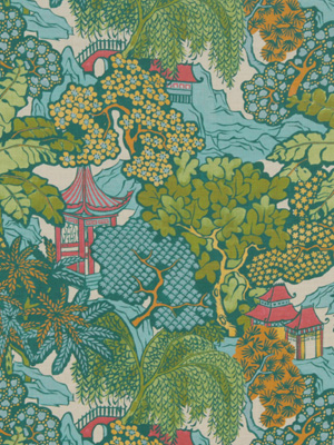 Beacon Hill Midnight Garden Collection Hidden Temple Emerald Fabric