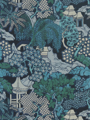 Beacon Hill Midnight Garden Collection Hidden Temple Indigo Fabric