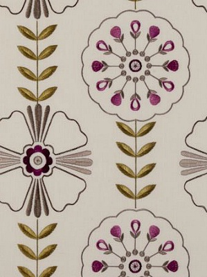 Clarke And Clarke Buhkara Fabric Collection Embroidery Mandana Berry F0376 06