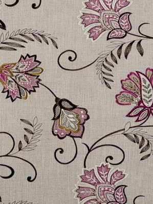 Clarke And Clarke Embroidered Fabric Collection Bukhara Berry F0379 06