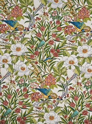GP J Baker Crayford Collection Historical Fabrics Imperial Pheasant Fuschia Linen Multi BP10462 3