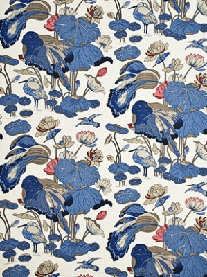 GP J Baker Fabric Crayford Collection Historical Print Nympheus Linen Indigo Marine Linen R1206 9