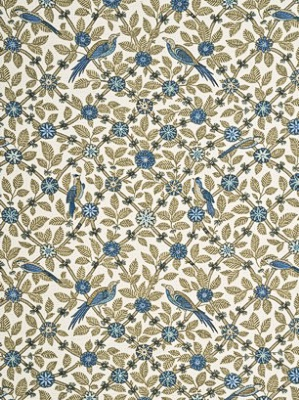 GPJ Baker Crayford Collection Fabric Bamboo Bird Trellis Aqua Linen BP10465 6