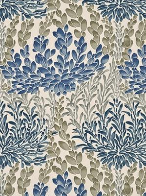 GPJ Baker Crayford Collection Fabric Leaf Cascade Cotton Indigo BP10388 1