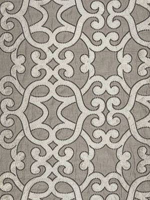 Schumacher Au Naturel Prints And Weaves Collection Amboise Linen Embroidery Zinc Fabric 65180