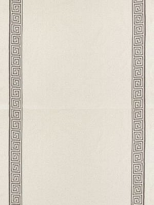 Schumacher Au Naturel Prints And Weaves Collection Greek Key Embroidery II Truffle Fabric 65250