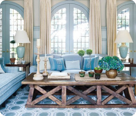 Matching fabric and wallpaper decoratorsbest for Tranquil living room ideas