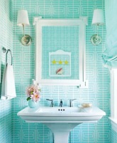 house-beautiful-september-2011-mona-ross-berman-beach-house-white-modern-turquoise-wallpaper-bathroom