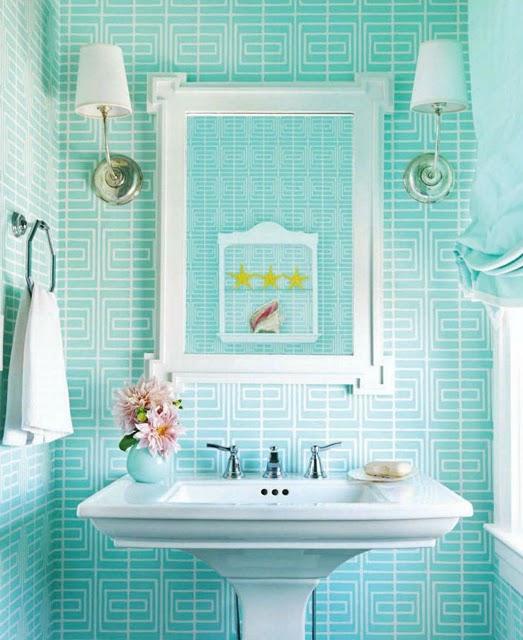 house-beautiful-september-2011-mona-ross-berman-beach-house-white-modern-turquoise-wallpaper-bathroom
