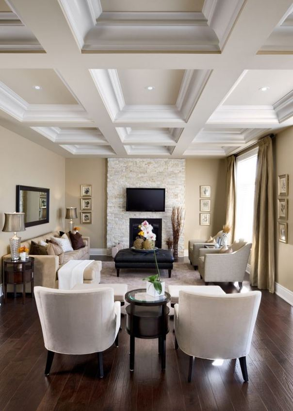 Contemporary Decor Coffered Wood Ceiling White Fireplace
