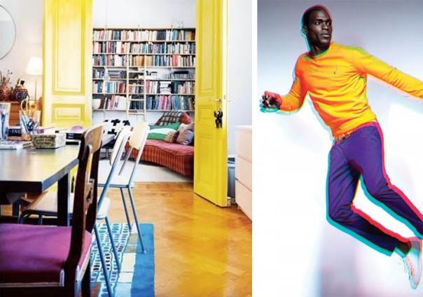 neon yellow color blocking interior decor and men's fashion