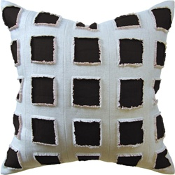 Ryan Studio Pillow Slubby Linen Fringe - Ebony 22X22 142-T