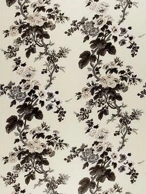 Schumacher Fabric - Pyne Holyhock Print - Charcoal 174450