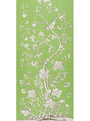 Schumacher Wallpaper Panel - Chinois Palais - Lettuce 175040
