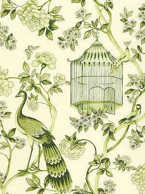 Schumacher Wallpaper - Oiseaux et Fleurs - Peridot 5004083