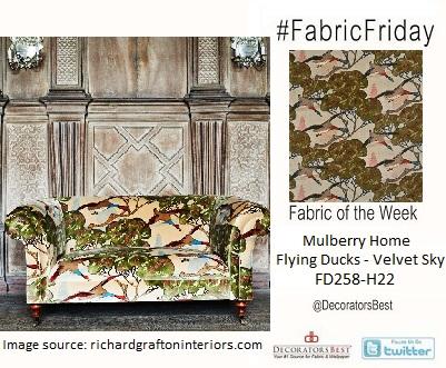 Fabric Friday brids mulberry home flying ducks velvet sky richard grafton interiors