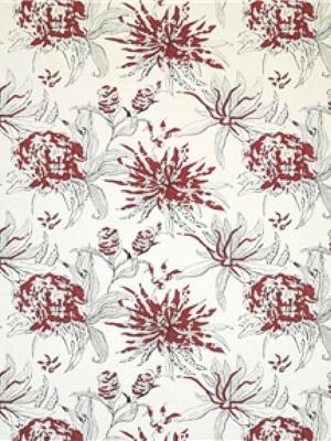 Brunschwig & Fils Fabric - Hibiscus - Rojo GDT4897-002