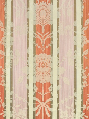 Clarence House Fabric -  Anjou Damask Stripe - Coral Mushroom Pink HB117-3