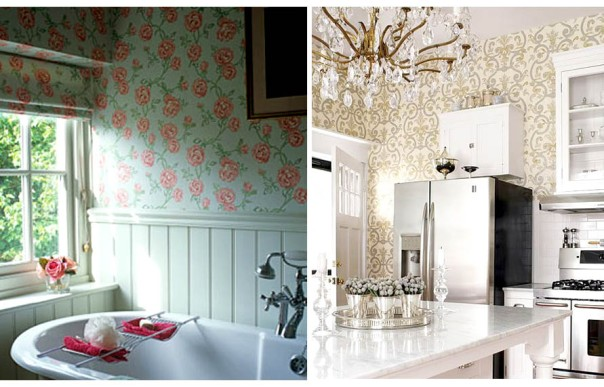 Save Money on Your Decor Affordable Ideas: Vinyl Wallpaper in Kitchen & Bathroom