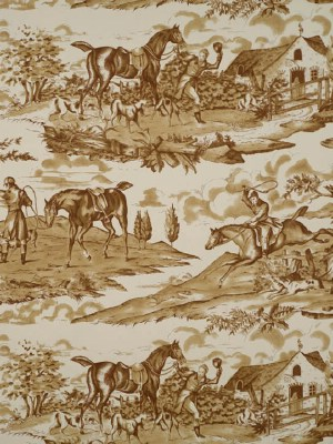 Scalamandre Wallpaper - Hunt Party - Sepia On Antique White WP81587-005