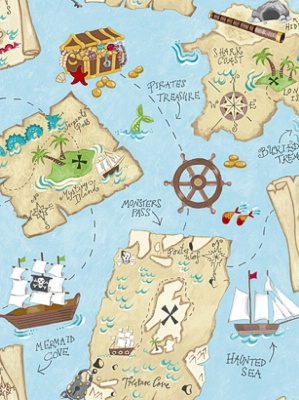 York Wallpaper Pirate Map YS9295