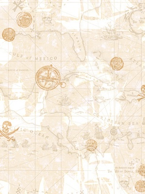 York Wallpaper Pirate Map Sidewall ZB3106 $26.25 per roll