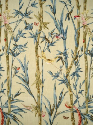 Scalamandre Fabric - Birds Of A Feather - Cream with Pinks & Aqua 16362-001