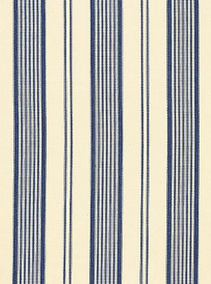 Schumacher Fabric - Barnes Ticking Stripe - Blue 3468001