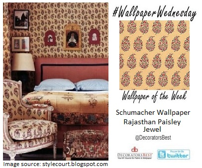 schumacher wallpaper wednesday paisley upholstery colonial decor interior design home inspiration